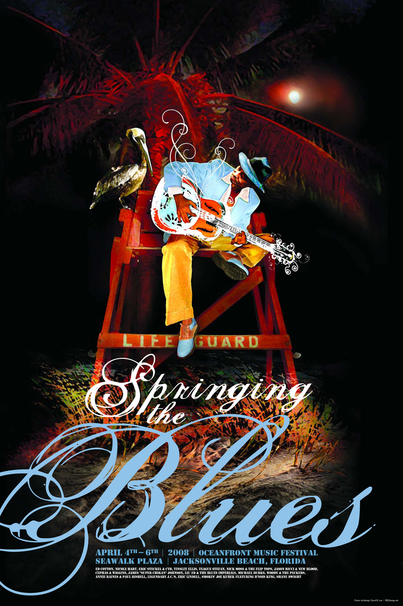 Print Design Portfolio | Springing The Blues Poster 2008 | David B. Lee