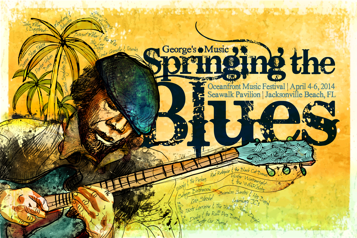 Print Design Portfolio | Springing The Blues Poster 2014 | David B. Lee
