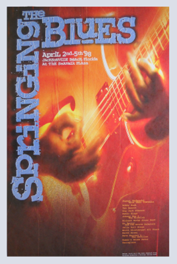 Print Design Portfolio | Springing The Blues Poster 1998 | David B. Lee