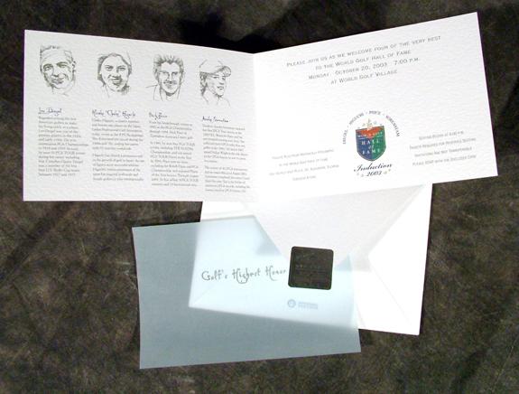 Print Design Portfolio | Golf Hall of Fame Invitation | David B. Lee