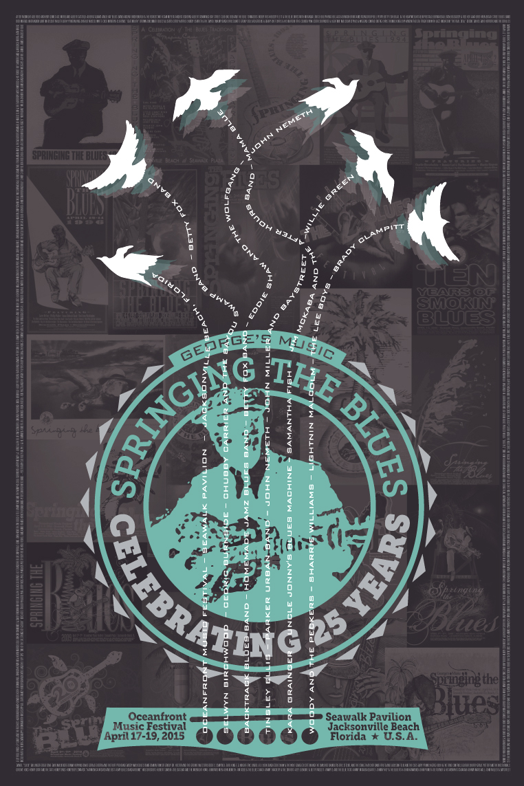 Print Design Portfolio | Springing The Blues Poster 2015 | David B. Lee