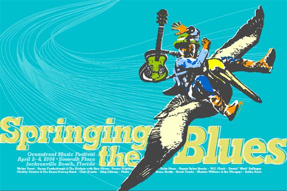 Print Design Portfolio | Springing The Blues Poster 2004 | David B. Lee