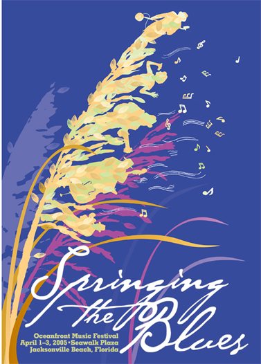 Print Design Portfolio | Springing The Blues Poster 2005 | David B. Lee